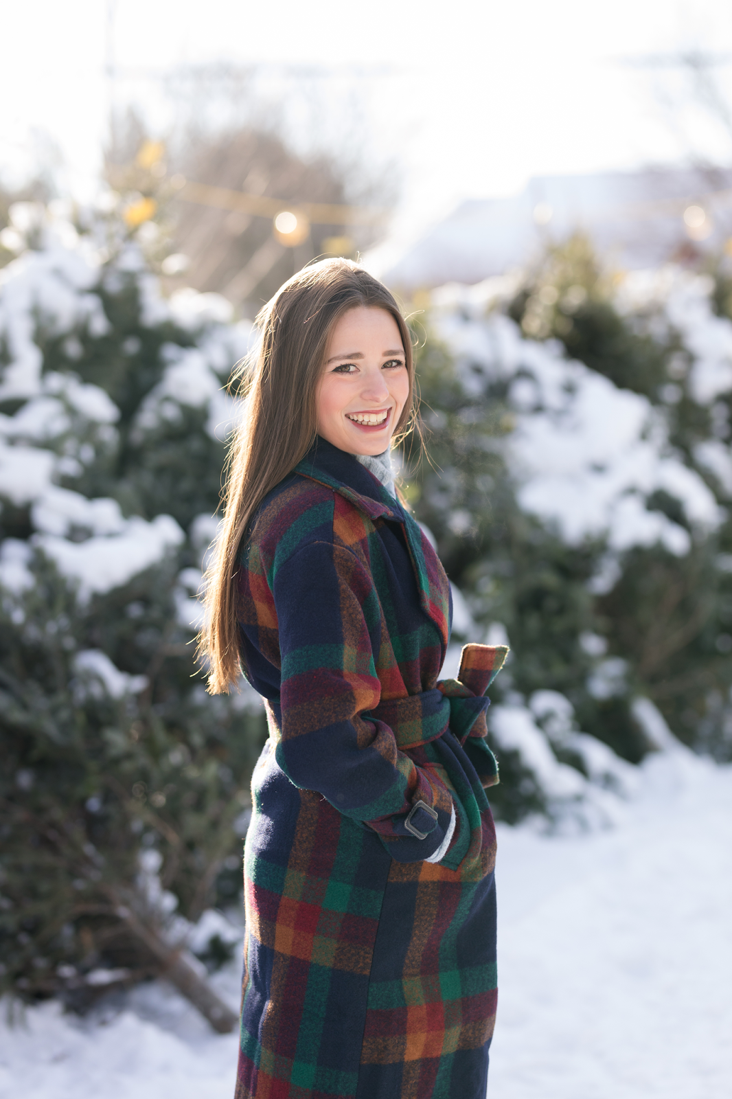 Preppy Plaid Coat + Christmas Trees