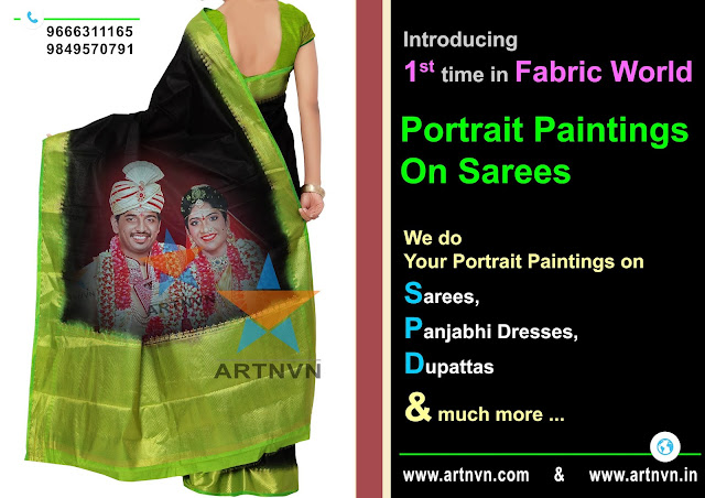 Portrait Art Paintings Fabric Painting, Saree Painting, Panjabhi Dress Painting, Cloth Painting in Hyderabad | ARTNVN