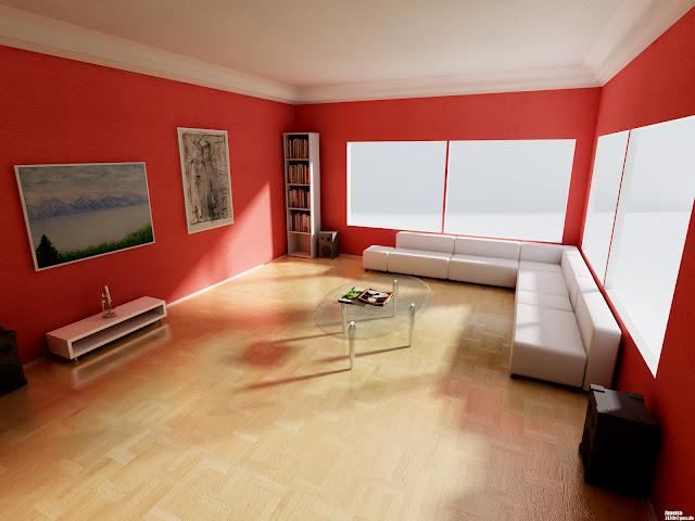 Warna Cat Ruang Tamu Burning Red