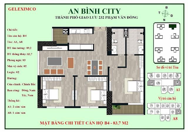 Mặt bằng thiết kế căn hộ B4 - 83m2 An Bình City