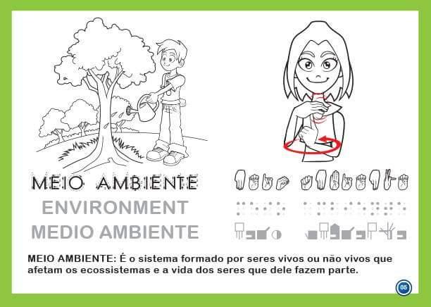 Oficina de Libras: Livro Ilustrado em Libras e Braille para Colorir
