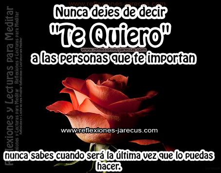 """Nunca dejes de decir """"te quiero"""" a las personas que te importan, nunca sabes cuando ser+a la última vez que lo puedas hacer."""