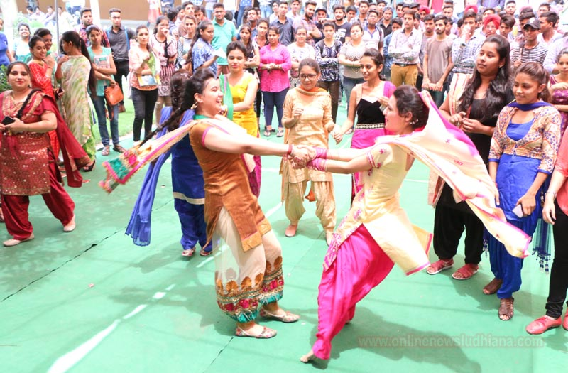 Students perform Giddha during Hariyali Teej celebrations at Kamla Lohtia S.D. College