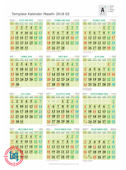 Download Free Template Kalender 2018 Lengkap Jawa dan Hijriyah