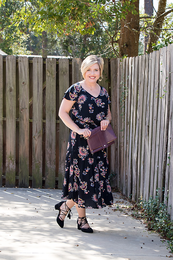 fall dress, floral dress, fall fashion