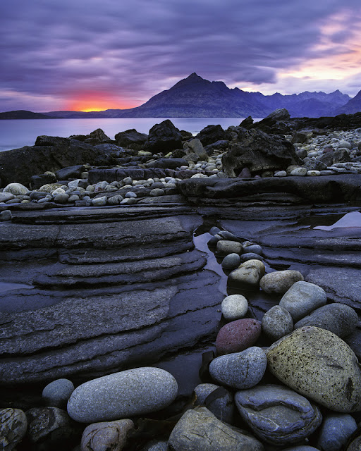 Sunset over Elgol Bay on the Isle of Skye off the west coast of Scotland, best photos