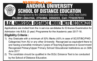 ANDHRA UNIVERSITY- Distance Education BEd Admission Notification-2017