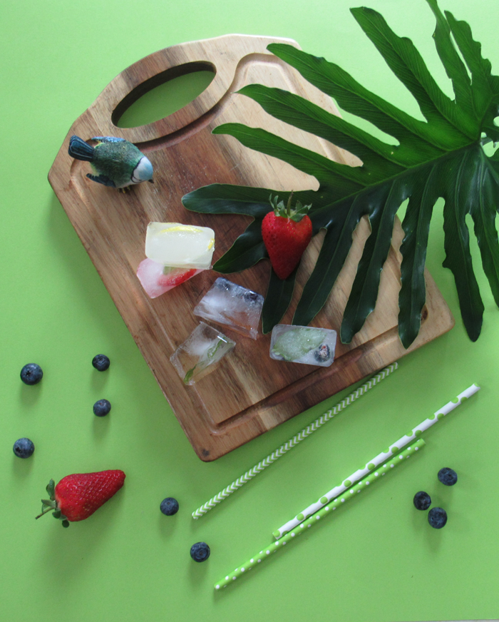 Valentina Vaguada: infused ice cubes, herbs, strawberry, blueberry, mint, spring, summer, recipe