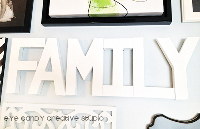 paper mache letters, black and white gallery wall, family letters