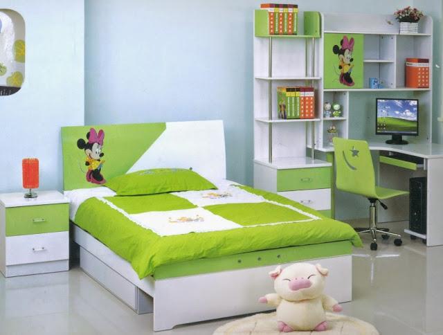 interior kamar tidur anak minimalis hijau