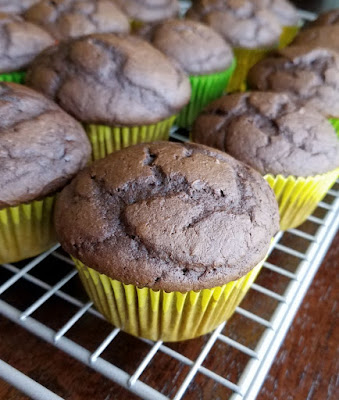chocolate pumpkin cupcakes cooling on rack