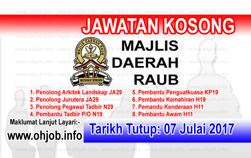 jAWATAN Kerja Kosong Majlis Daerah Raub log www.ohjob.info julai 2017