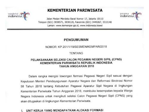 Lowongan CPNS 2018 Kementerian Pariwisata