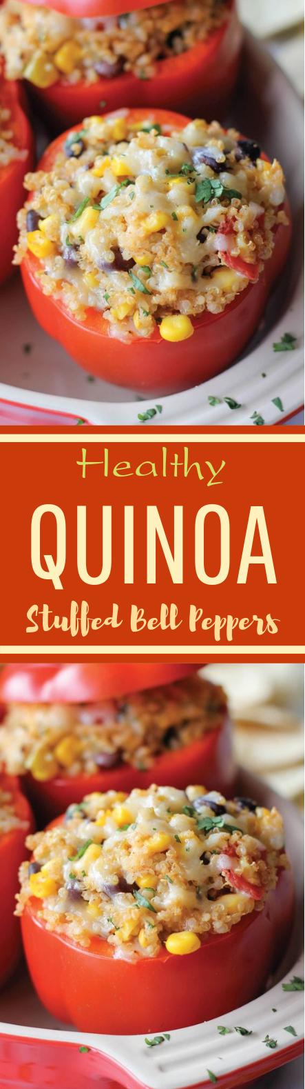 Quinoa Stuffed Bell Peppers #vegetarian #meatless