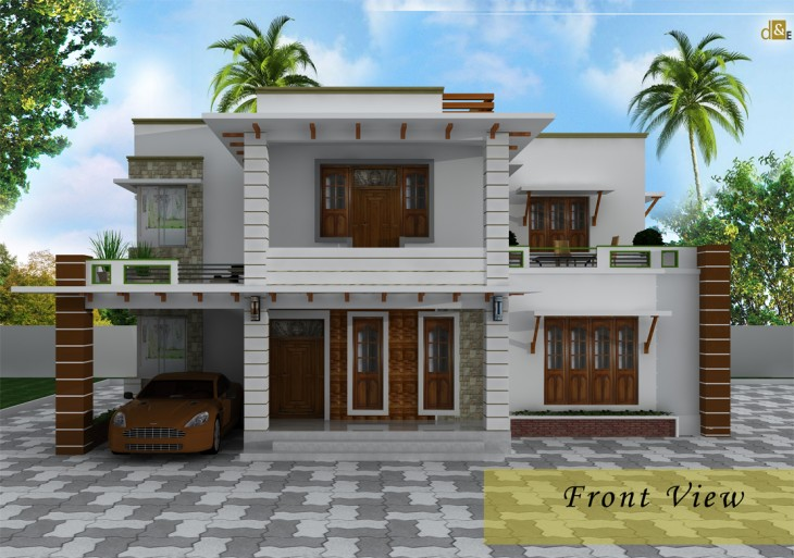 stylish Low cost 1800 sq ft 4 BHK Contemporary house design on