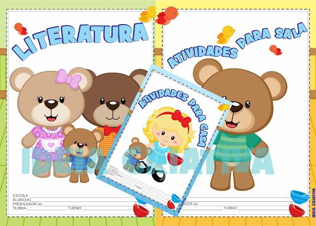 Capas para Caderno Cachinhos Dourados e os 3 Ursos