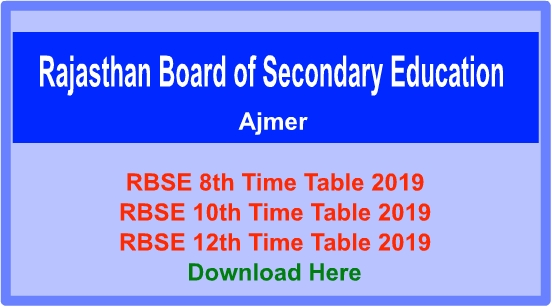 RBSE time table Download for 8th 10th 12th class