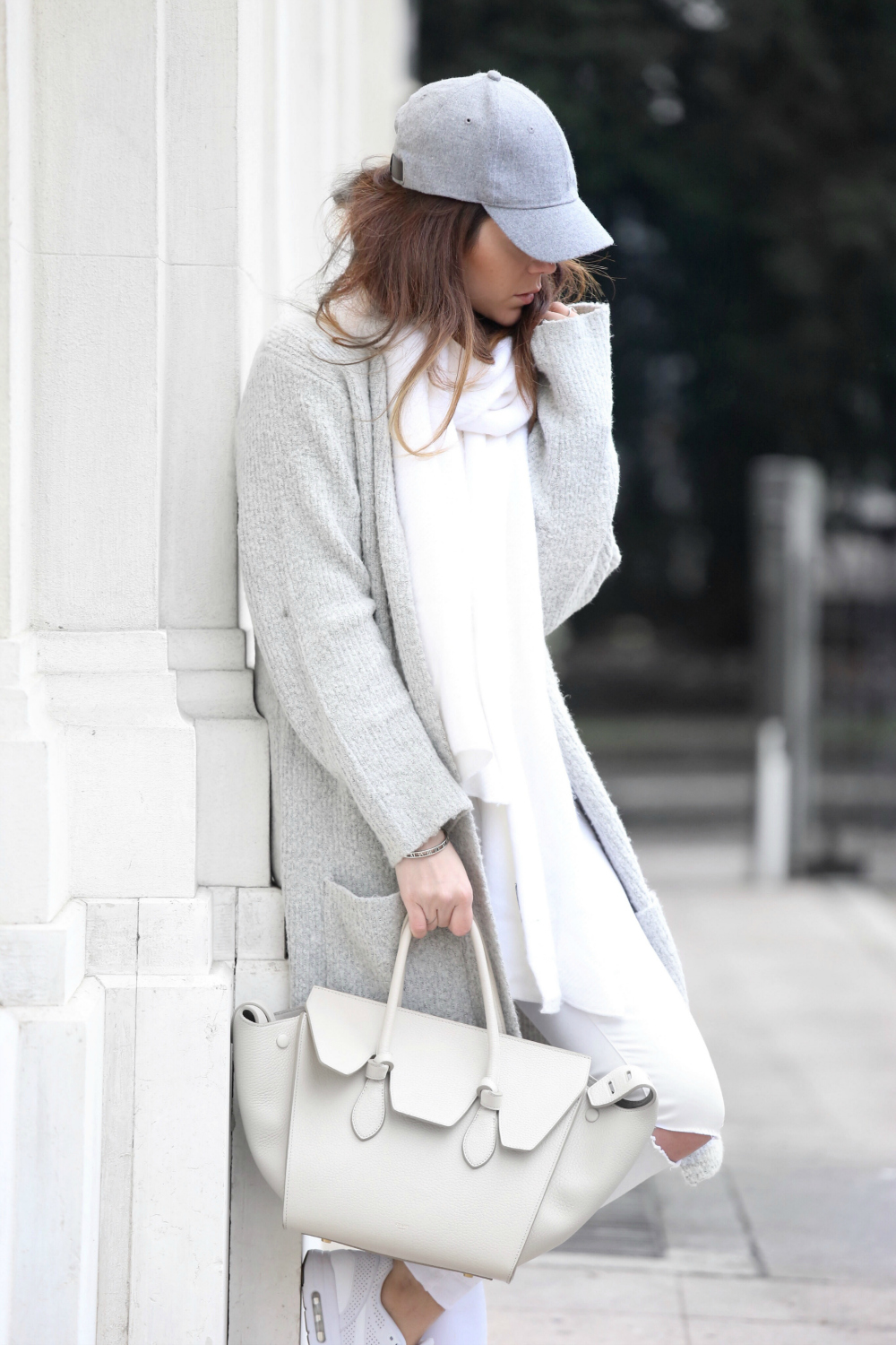 Nicoletta Reggio - White Celine Bag + White Nike Air Max Sneakers
