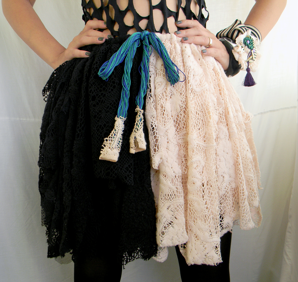Handmade tattered Pixie Lace Skirt Cruella Devile