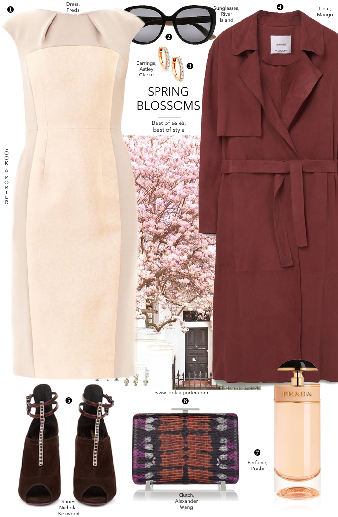 Spring blossoms and rose & burgundy outfit ideas for dinner date via www.look-a-porter.com style & fashion blog