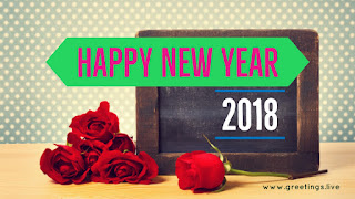 Creative NEW year greetings with red roses old slate 2018