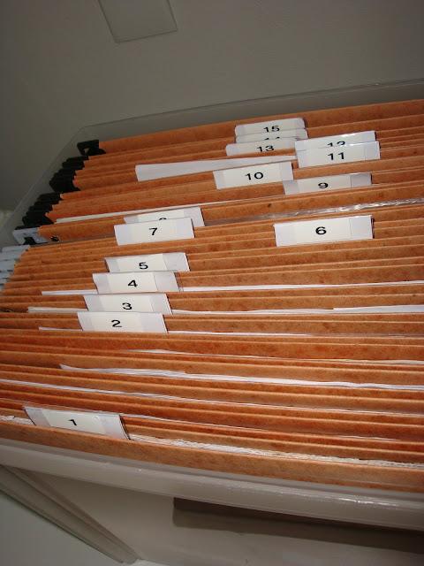 Pastas numeradas na caixa de arquivo