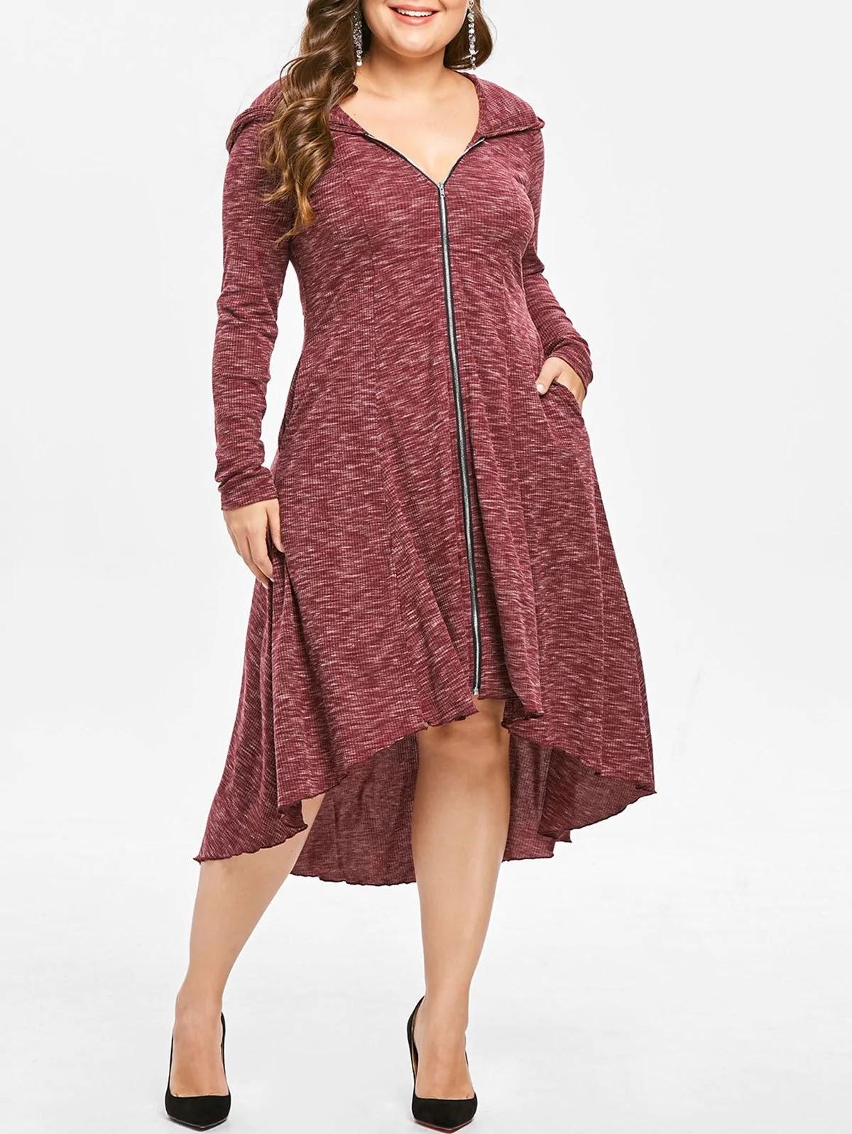 Plus Size Zip Front Hooded Asymmetrical Dress