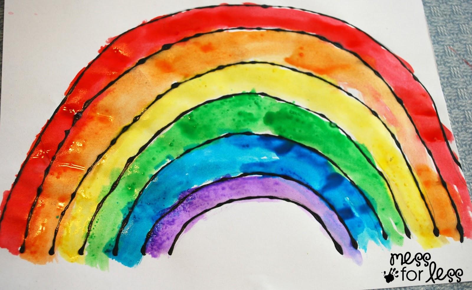 Rainbow Craft: Black Glue and Salt Watercolor Rainbow ...