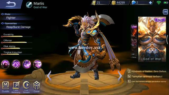 Download Script Skin Epic Martis Mobile Legends Patch Terbaru