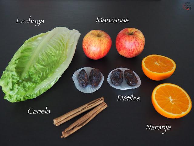 Batido de fruta y verdura, con lechuga, manzana, naranja, dátiles y aromatizado con canela.