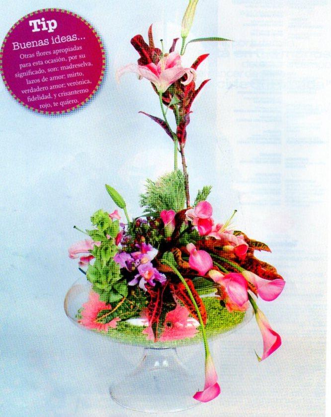 c80dd7abe Espuma floral. Bolitas de gel. Gerberas de color rosado. Campana de  irlanda. Orquídea. Lirio de color rosado. Hojas de croto. Minicalas de  color vino tinto.