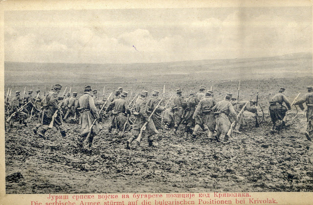 Charge of the Serbian army on Bulgarian positions at Krivolak, Macedonia - Second Balkan war