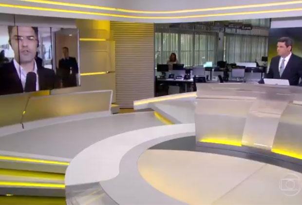 """Homem grita """"Globo lixo"""" ao vivo no """"Jornal Hoje"""" e apresentador reage; veja vídeo"""