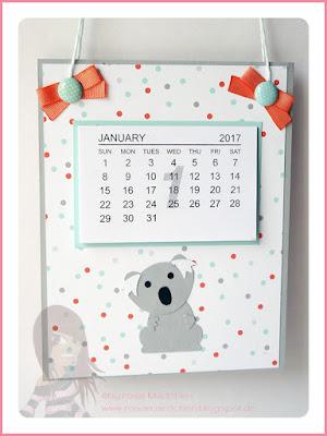 Stampin' Up! rosa Mädchen Kulmbach: Kalender mit Punch Art Tierchen aus der Fox Builder Punch und Designerpapier im Block ausgefuchst