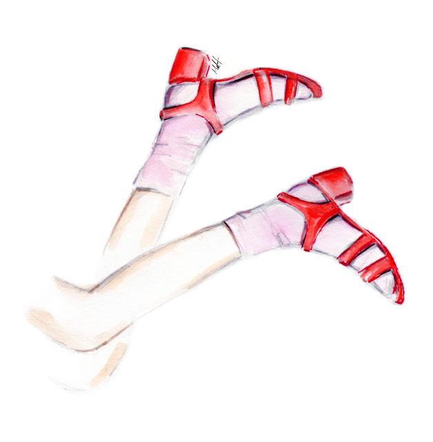 red sandals shoes illustration