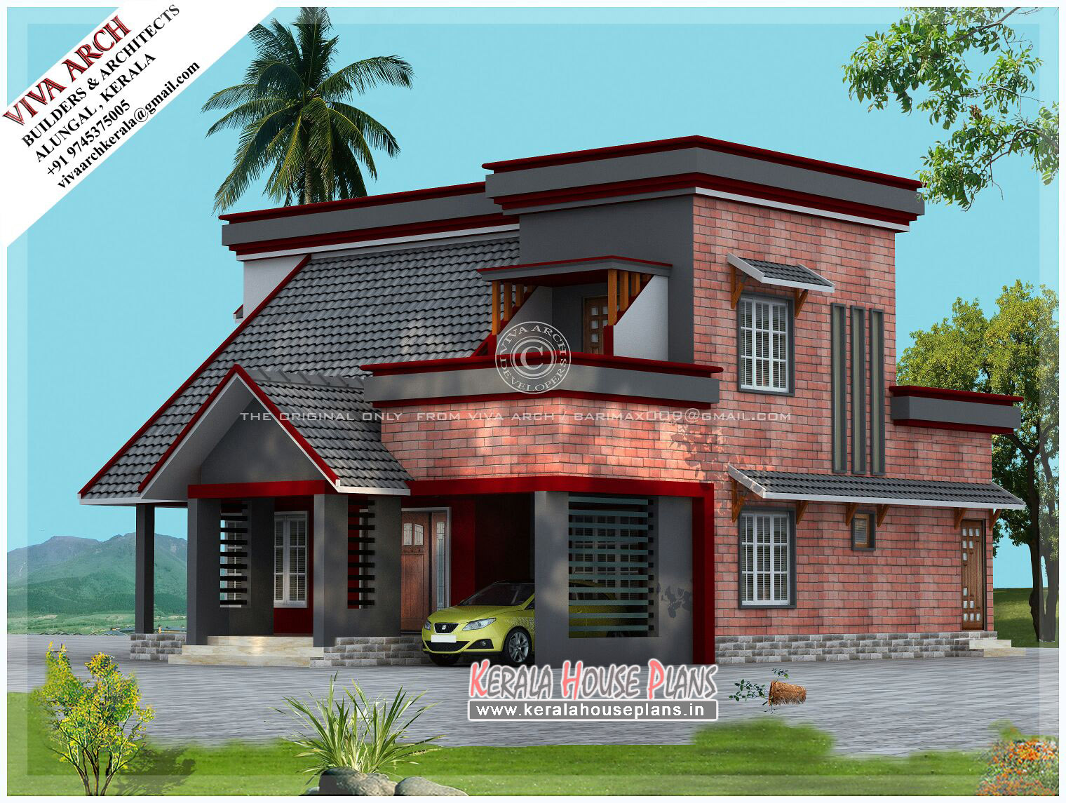 Mix wall slope roof kerala house design kerala house for Sloped roof house plans in india