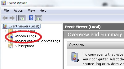 Windows Event Log Location