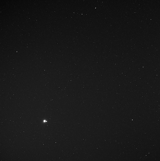 Earth and Moon seen by MESSENGER spacecraft from 183 million kilometers away