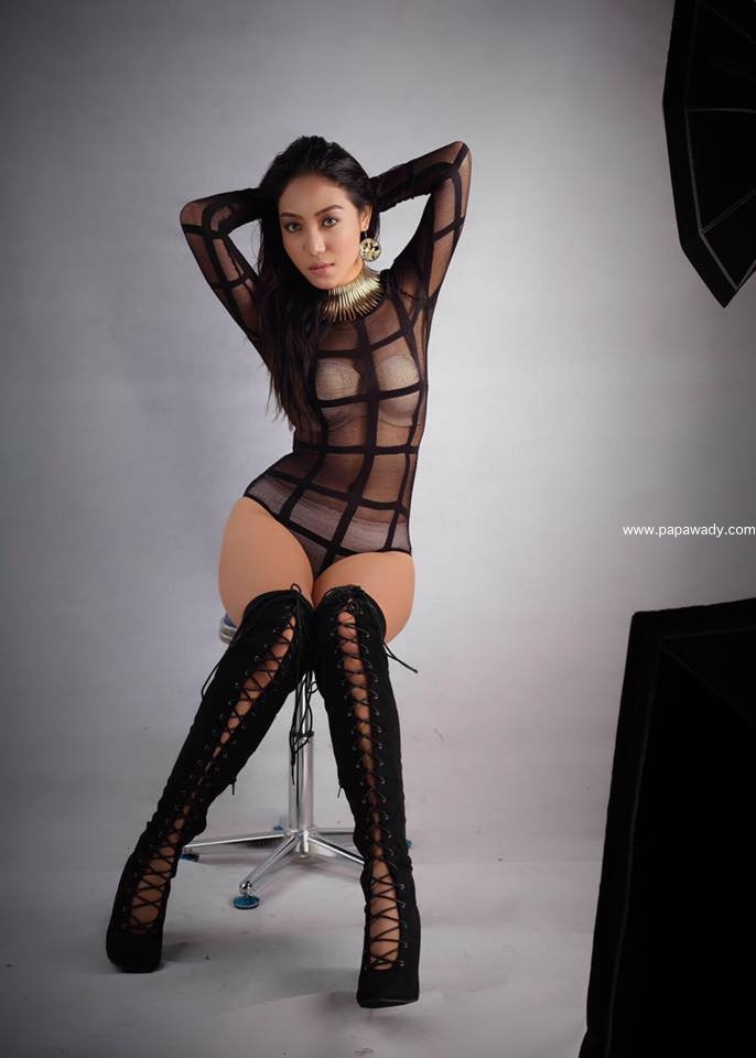 Khin Injinn Kyaw Black Outfit Fashion Photoshoot
