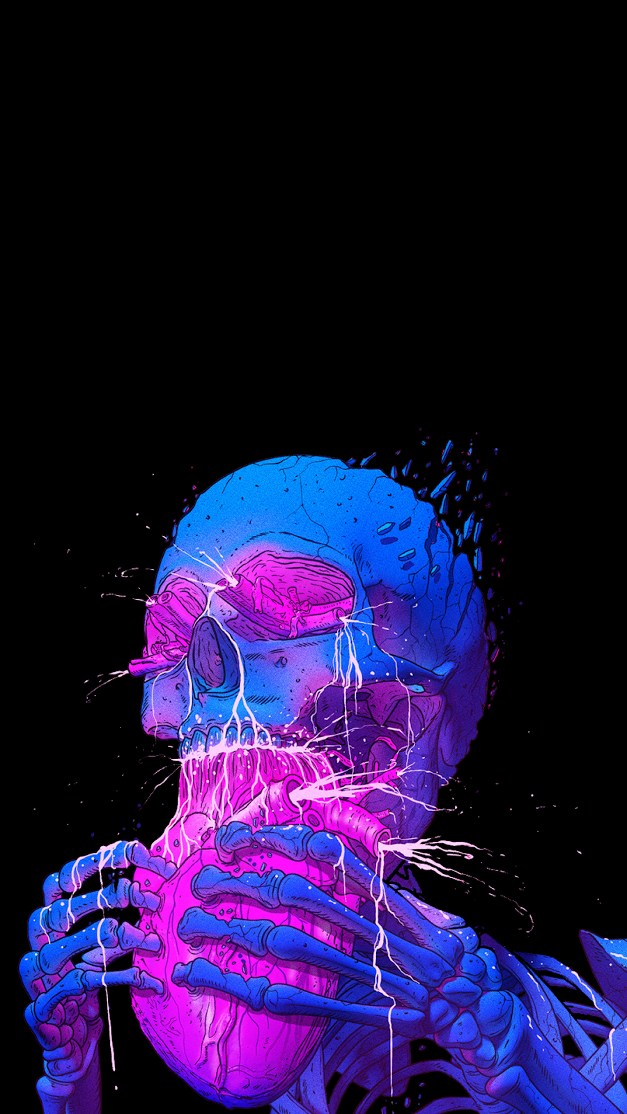 amoled phone wallpaper skull