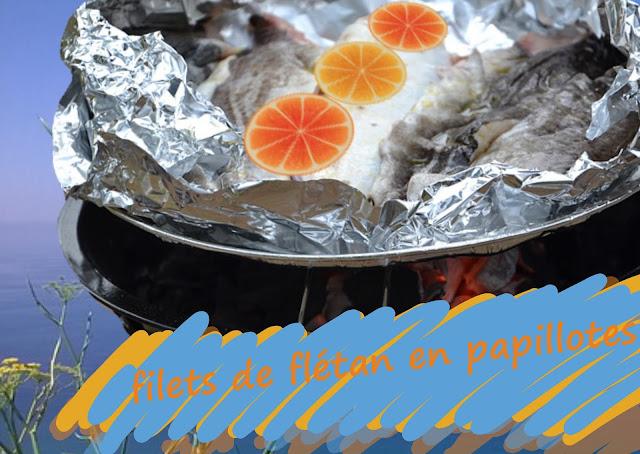 cuisine d'extérieur, de vacances, de camping, papillotes de poissons aux herbes