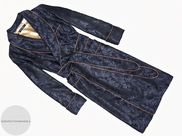 Mens paisley silk robe dark navy blue dressing gown lightweight long