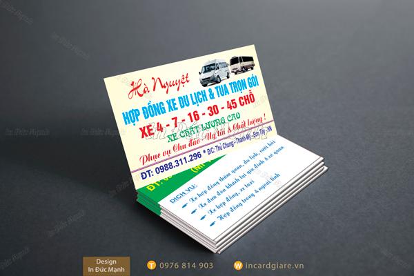 Mẫu card visit Dịch vụ xe Du lịch & tua trọn gói