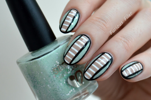 stripes geometric freehand mint pastel glitter indie