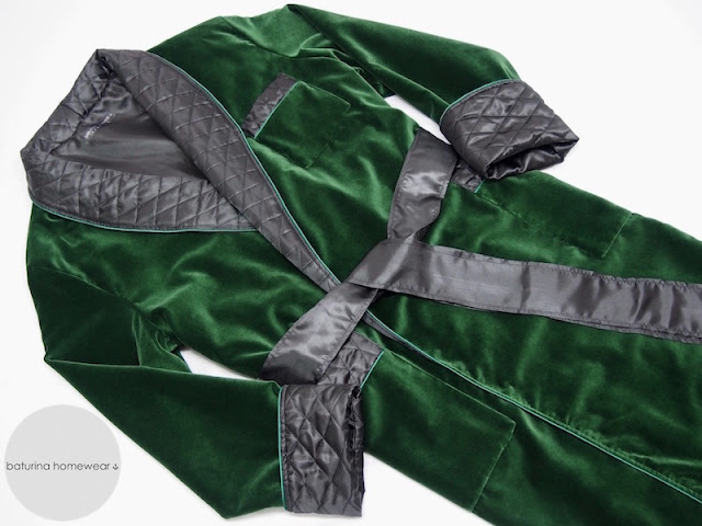 mens velvet dressing gown long warm quilted smoking jacket robe luxury housecoat