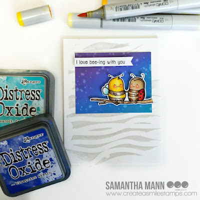 I Love Bee-ing With You Card by Samantha Mann for Create a Smile Stamps, Distress Oxide Inks, Ink Blending, Bugs, Bee, Handmade Card, embossing paste #createasmile #stamps #cards #inkblending #bee
