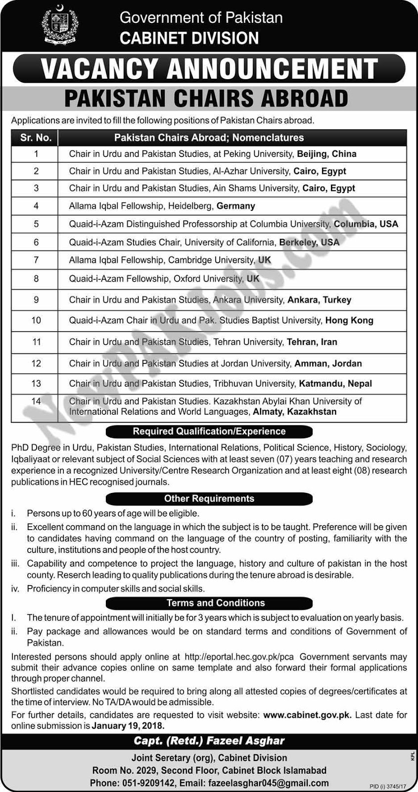 Latest Jobs in Cabinet Division Pakistan Chairs Abroad Jan 2018