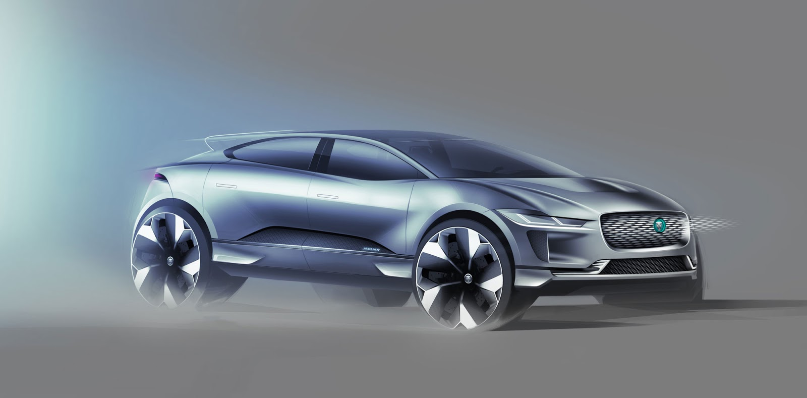 Jaguar I-Pace sketch - front three-quarter view