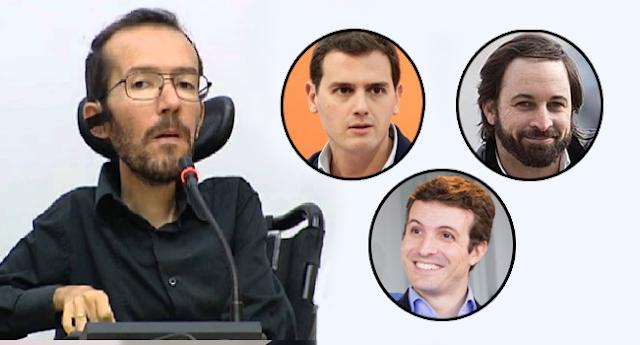 "Pablo Echenique califica el discurso público de Vox, PP y C's de ""matones"" e ""irresponsables""."