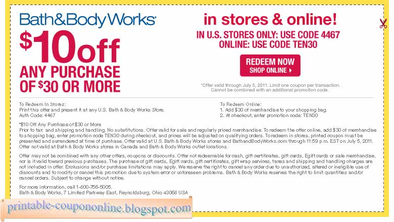 Bath & body coupon code